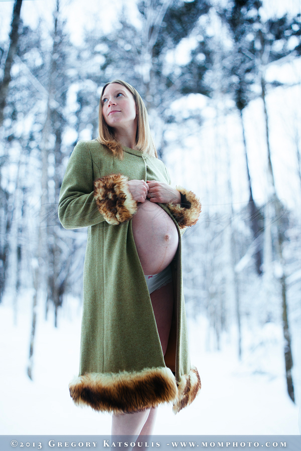 snowy maternity portrait